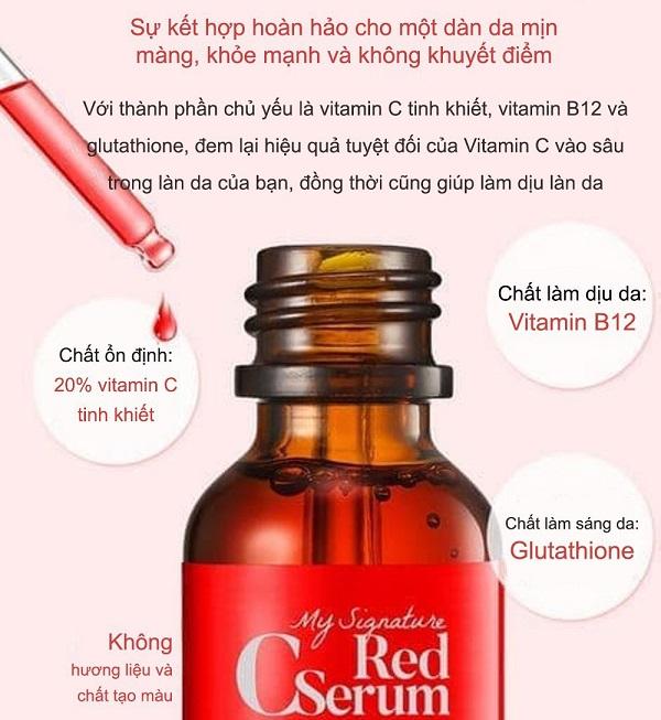 tiam my signature red c serum, tiam my signature red c serum review, tiam my signature red c serum ingredients, tinh chất tiam my signature red c serum