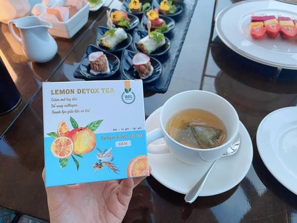 Trà giảm cân Lemon Detox Tea màu xanh giúp giảm mỡ đùi