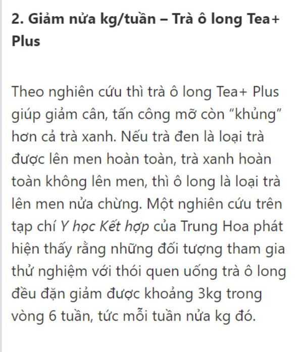 trà ô long tea+ plus có giảm cân không